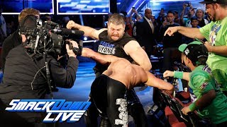 Kevin Owens & Sami Zayn attack Dolph Ziggler and Baron Corbin: SmackDown LIVE, Feb. 13, 2018