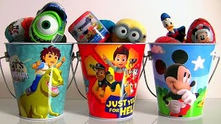 Paw Patrol and Go Diego Go Surprise Cans Dinosaur Adventure with Mickey Mouse Clubhouse Huevos
