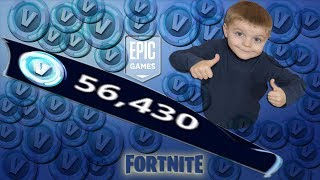 *5 YEAR OLD KID* 56,000 V-Bucks Fortnite Spending Spree!