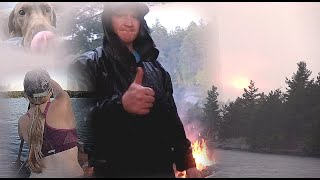 Adventure Couple and their Dog Wild and Free Camping Rain Storm Cook Fish Swim