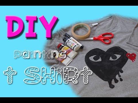 DIY Arcylic Art Painting T shirt Idea วิธีเพ้นท์เสื้อยืดด้วยสีอะคริลิค ทำเองได้ง่ายจะตาย