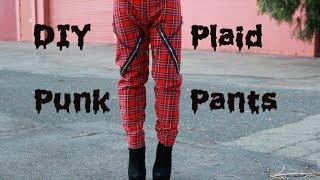 DIY Punk Plaid Pants with Chains