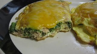 Easy, 4 ingredient low carb high protein breakfast tuna omelette