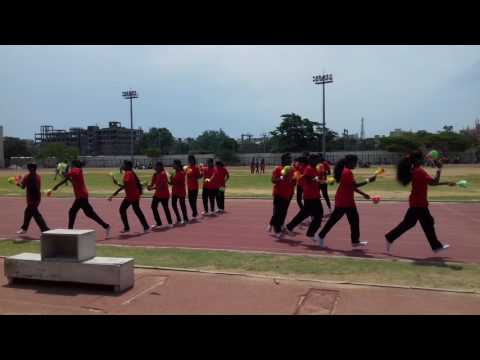 Prop dance using pom pom for sports day