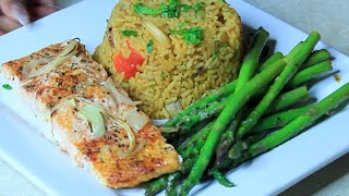 Baked Salmon And Seafood Yellow Rice With Asparagus !
