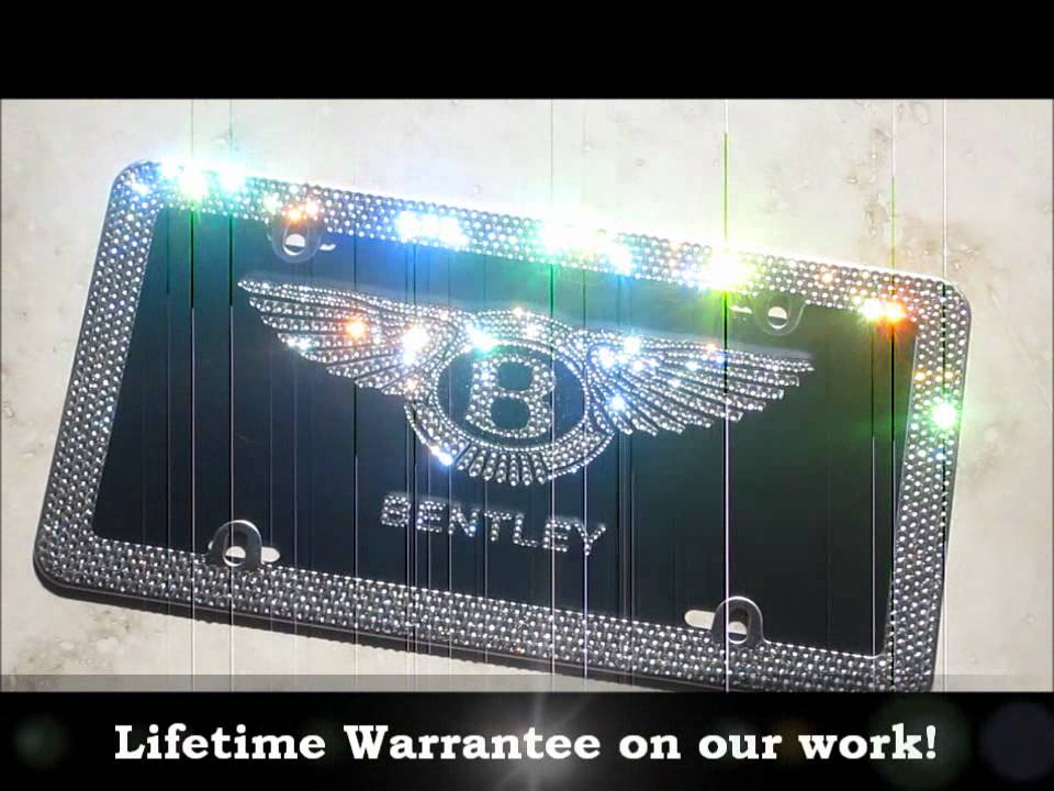 icy couture swarovski crystal bentley license plate frame