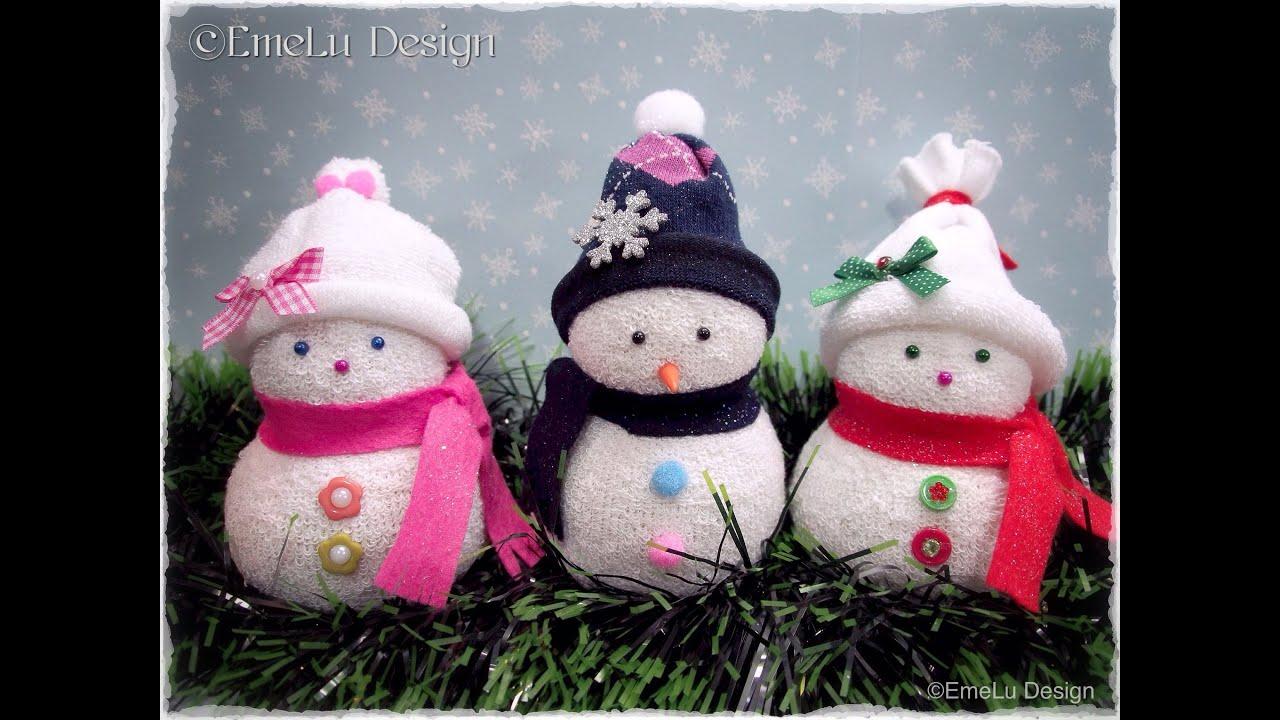 Diy snowman mu eco de nieve youtube for Munecos con calcetines