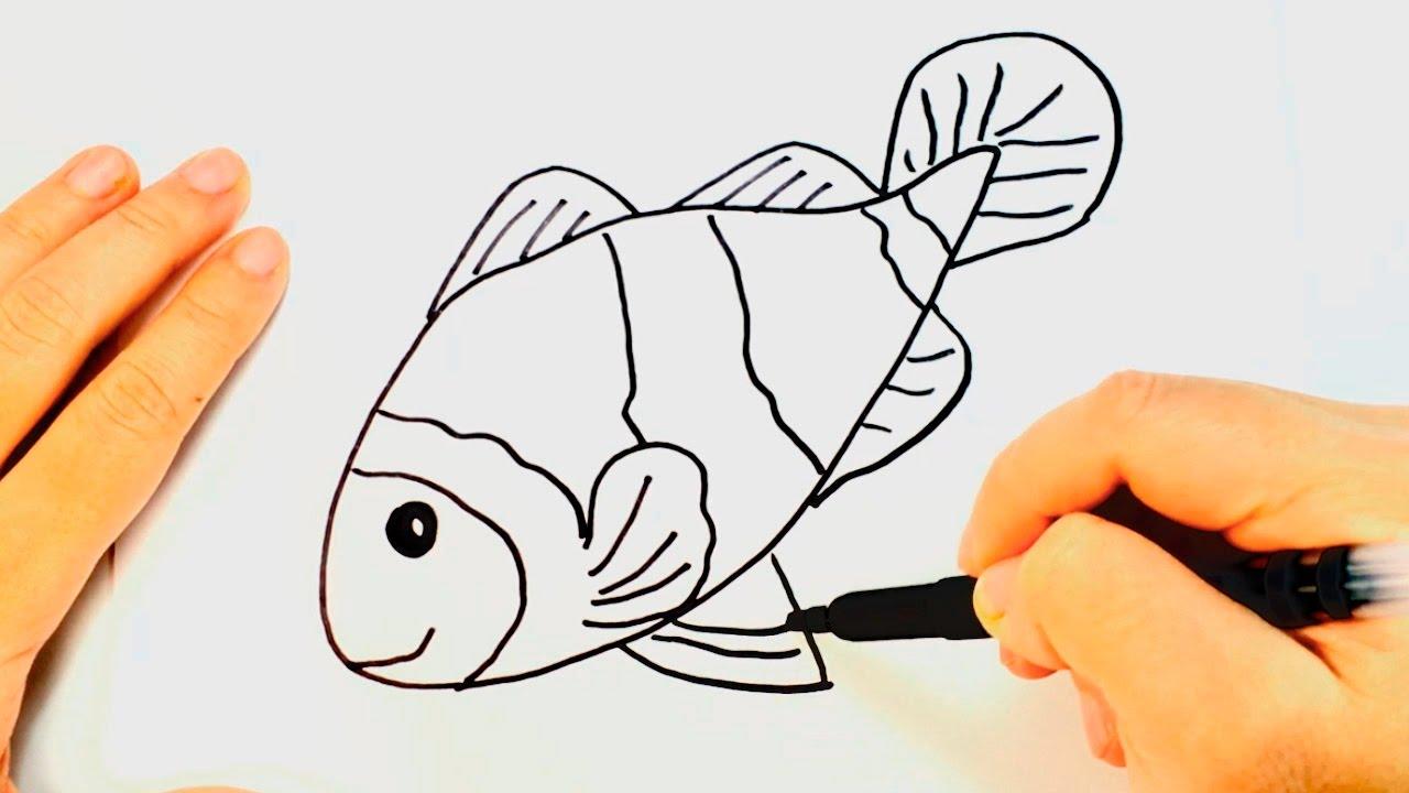 Cmo dibujar un Pez Payaso para nios  Dibujo de Pez Payaso paso