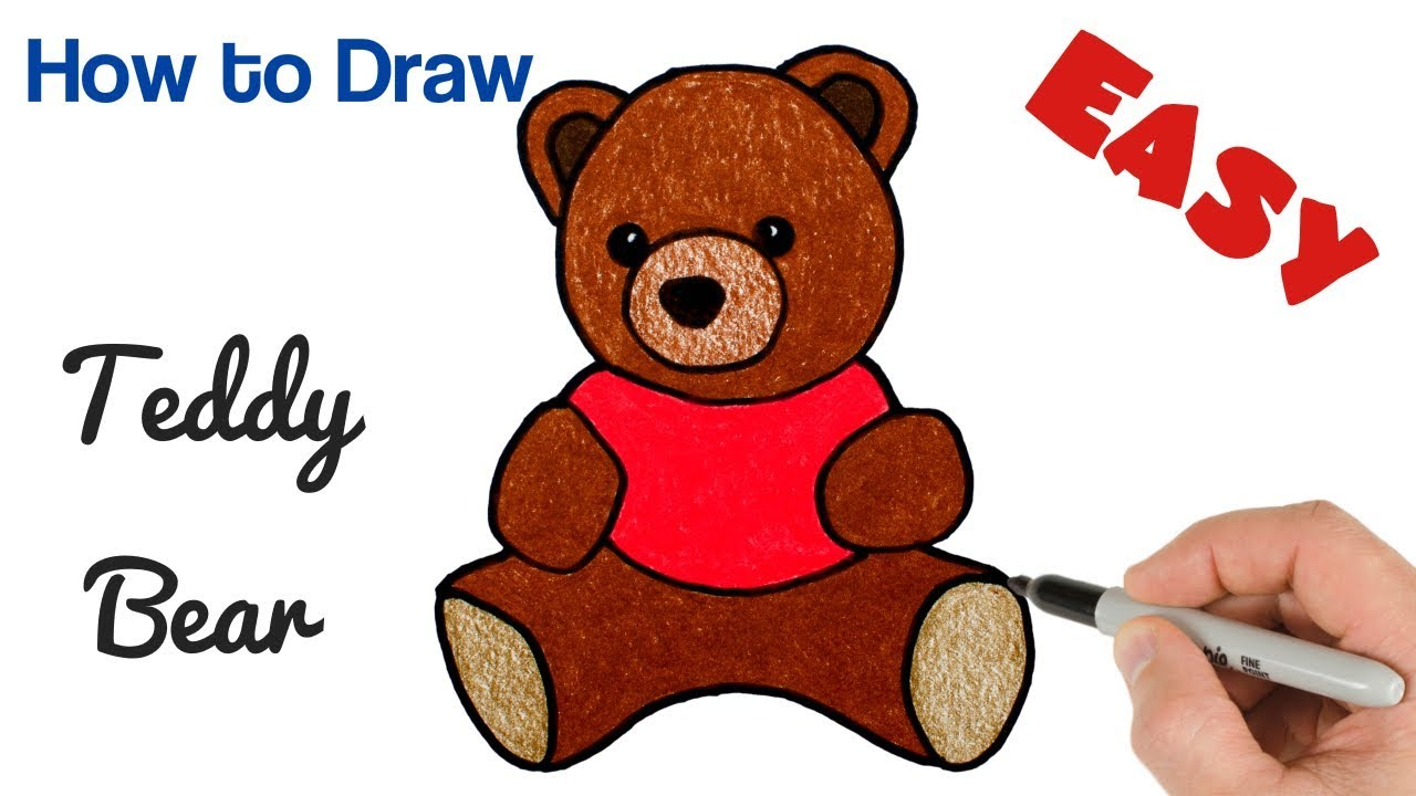 How To Draw Teddy Bear Easy Cute Drawings For Kids Youtube