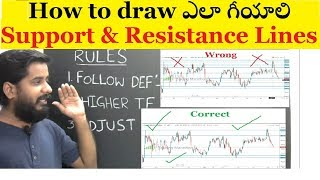 How to draw support and resistance lines ఎలా గీయాలి For Beginners