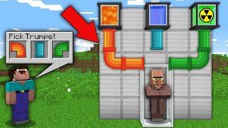 Minecraft NOOB vs PRO: NOOB MUST CHOOSE RIGHT TRUMPET TO TRANSFORMATION THIS VILLAGER! 100% trolling