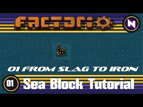 Factorio - Sea Block Tutorial - 01 From Slag to Iron