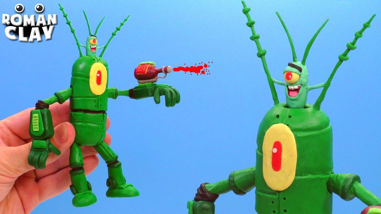 Robot Plankton with Clay SpongeBob | Roman Clay Tutorial