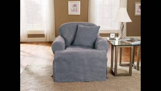 Soft Suede 1-piece T-cushion Chair Slipcover ; Dining Room Slipcovers, Slipcover For T Cushion Chair