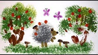 Как нарисовать поэтапно мятой бумагой и пальчиками красивую картинку. Урок рисования для детей