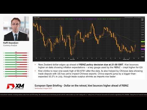 Forex News: 08/08/2018 - Dollar on the retreat; kiwi bounces higher ahead of RBNZ