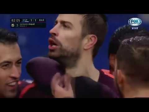 Piqué fight vs Espanyol 04/02/2018