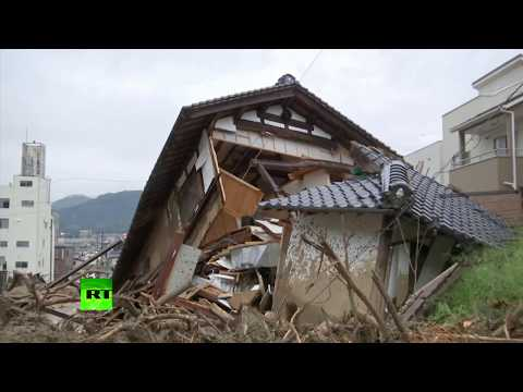 Aftermath of torrential rain & mudslides in Japan as at least 80 killed