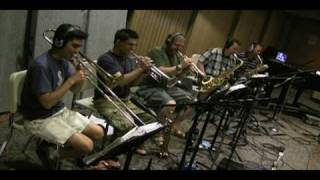 "The Fat City Horns record ""Pack it Up"" in the studio"