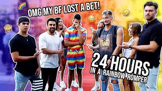 My Boyfriend Wore A Rainbow Romper For 24 Hours | Dhar and Laura