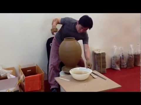 Ceramic Master, Kang Sinbong making/throwing Moon Jar