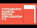 Typography Manual Cover Design Process Pt.2 Speed Design