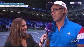 Emotion de Yannick Noah après la victoire en finale double coupe Davis France Belgique