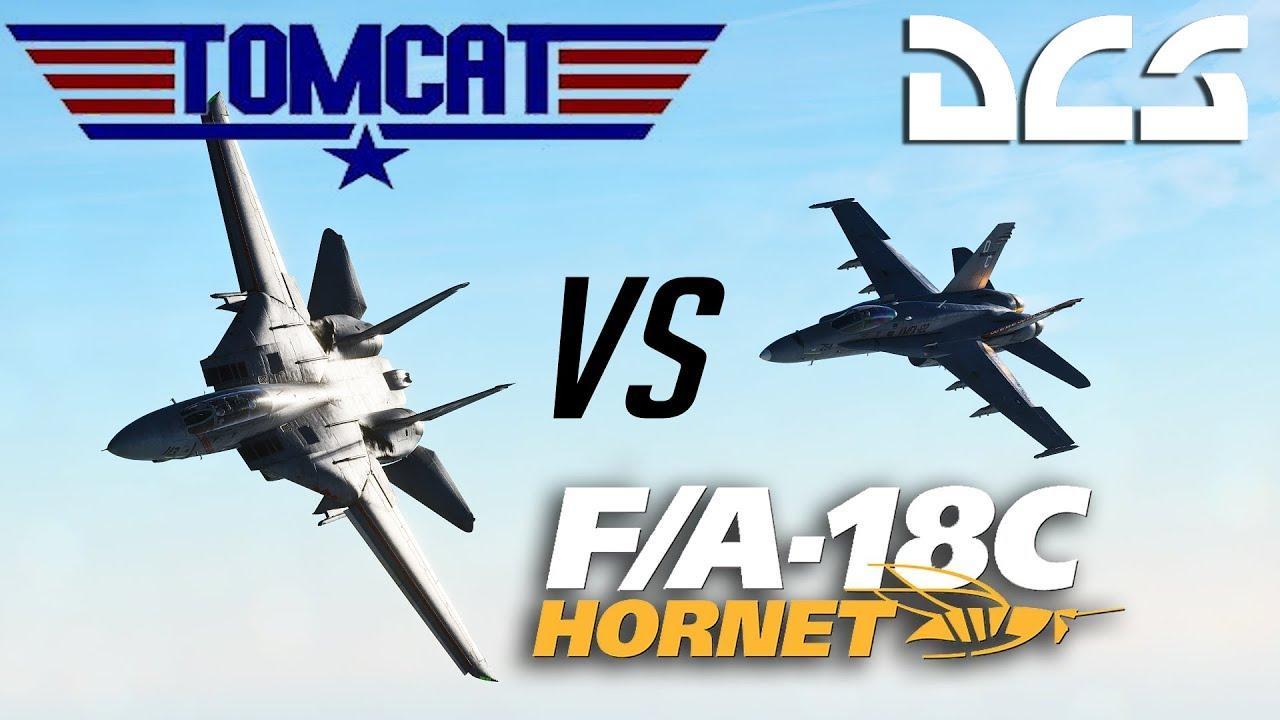 DCS: F-14 Tomcat Vs F-18 Hornet Dogfight + Tacview