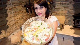 Простой салат из капусты. Овощной салат рецепт.