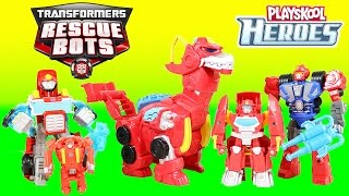 Transformers Rescue Bots Playskool Heroes Heatwave the Rescue Dinobot helps Optimus Prime!