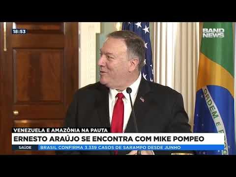 Ernesto Araújo se encontra com Mike Pompeo