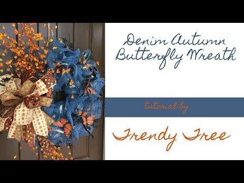 2017 Autumn Denim Wreath with Butterflies Trendy Tree Tutorial