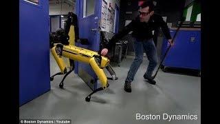 Человек склюшкой мешает собаке-роботу открыть дверь