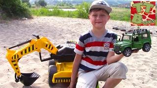 CARS TOYS BRUDER DIGGER | Экскаватор в песке ищет маленькую Машинку Обзор Машинок Игрушки для Детей