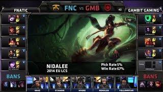 Fnatic vs Gambit Gaming | Season 4 EU LCS Spring split 2014 W7D2 G1 | FNC vs GMB Full game HD