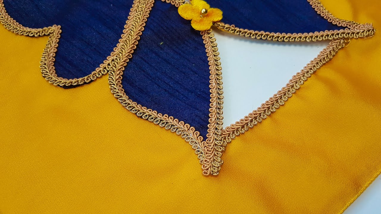 Silk saree model blouse gala back neck design cutting and stitching/Blouse design