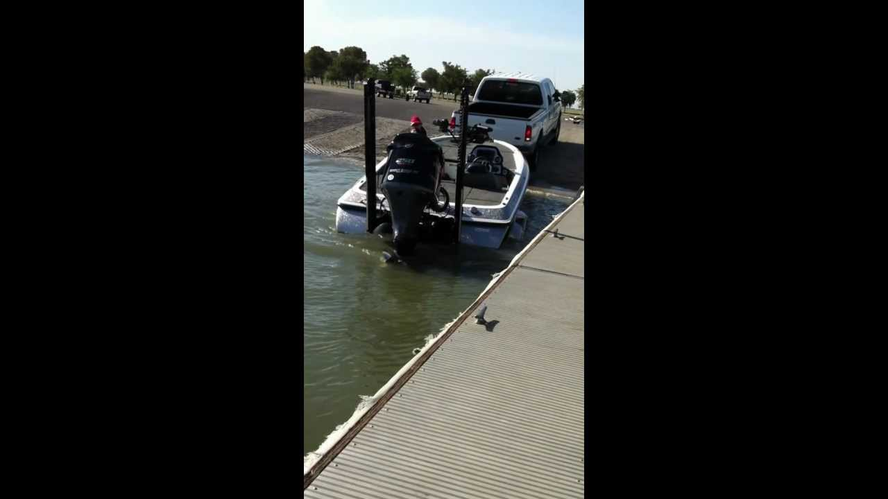 power pole shallow water anchor launching by yourself using the remote from inside the truck