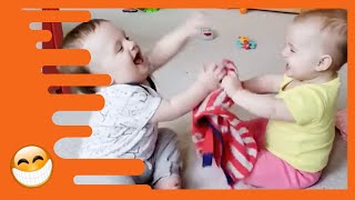 Funny Twins Baby Playing Together  -  Cute Baby Video