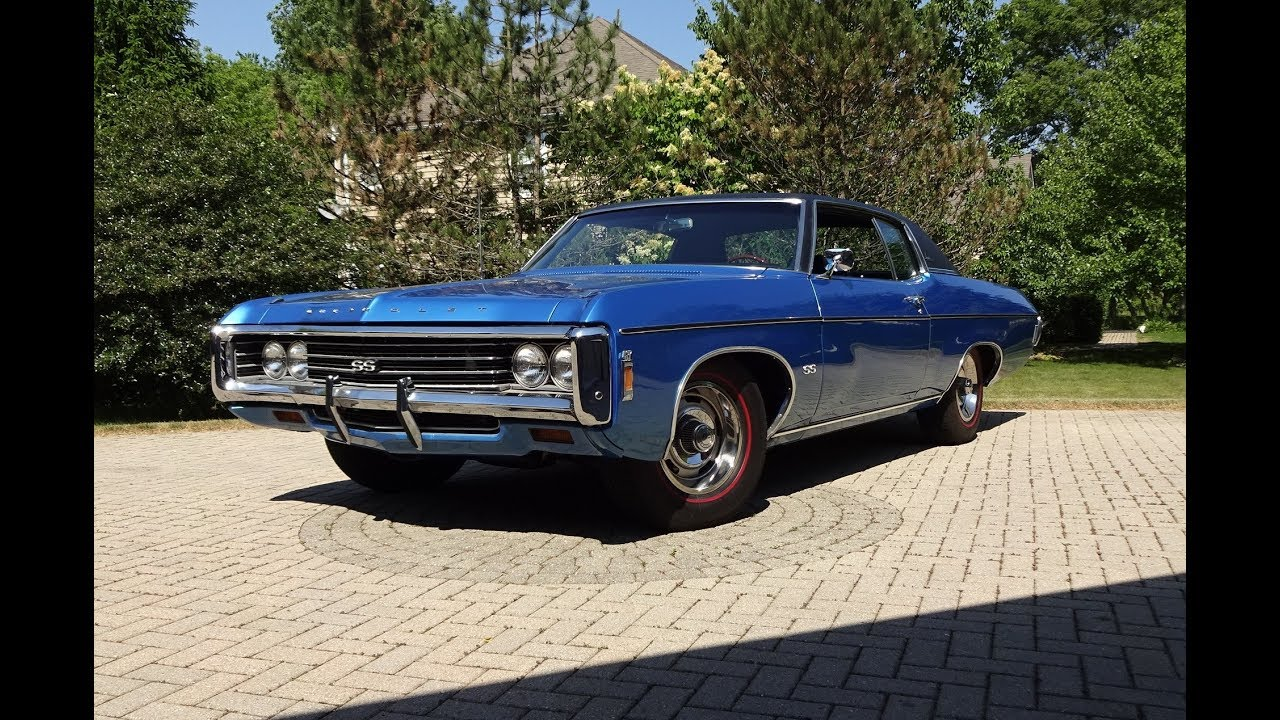 1969 Chevrolet Chevy Impala Custom SS In Blue 427 Engine Sound On
