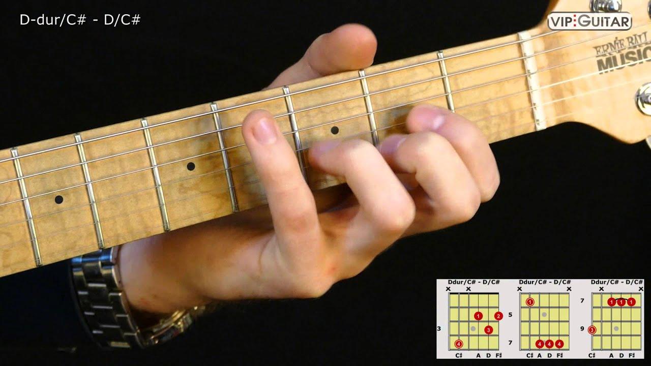 Gitarrenakkorde D dur C D C chord
