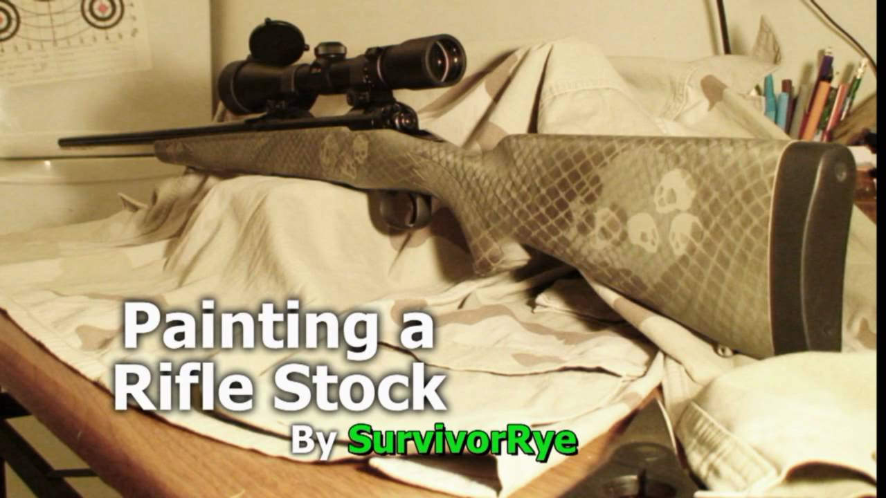 painting a rifle stock camo with skulls youtube. Black Bedroom Furniture Sets. Home Design Ideas