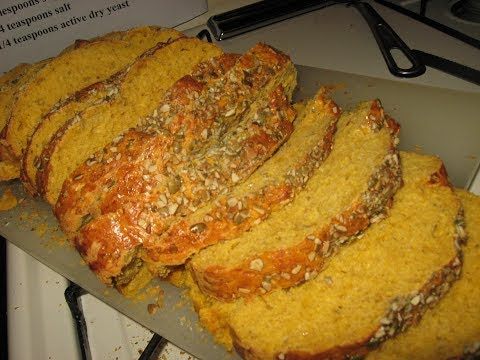 savory PUMPKIN SANDWICH BREAD oven baked SOFT WITH CHEWY CRUST ORANGE PUMPKIN SEED BREAD