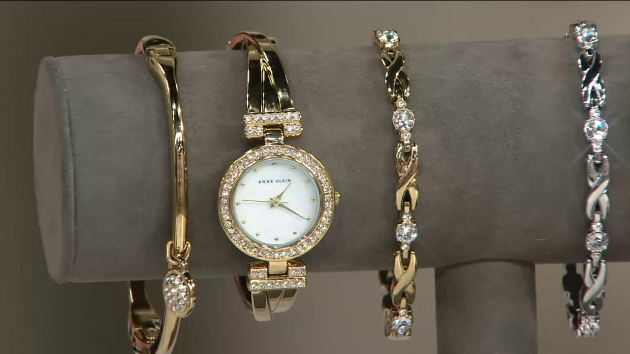 Anne Klein Crystal Bangle Watch And