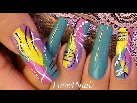 Fast & Easy Freestyle Nail Art - Fast & Easy Freestyle Nail Art - YouTube