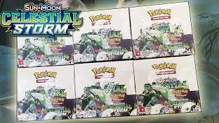 Opening 6 Pokemon Celestial Storm Booster Boxes! A WHOLE BOOSTER CASE OF POKEMON CARDS!