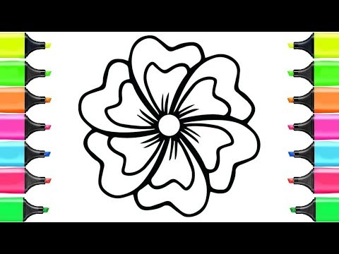 coloring-5-flowers- -paint-for-toddlers-and-drawing-for-kids