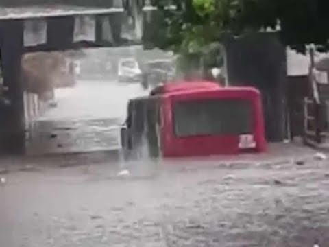 Surat: Bus gets submerged in flood water, lucky escape for driver, conductor