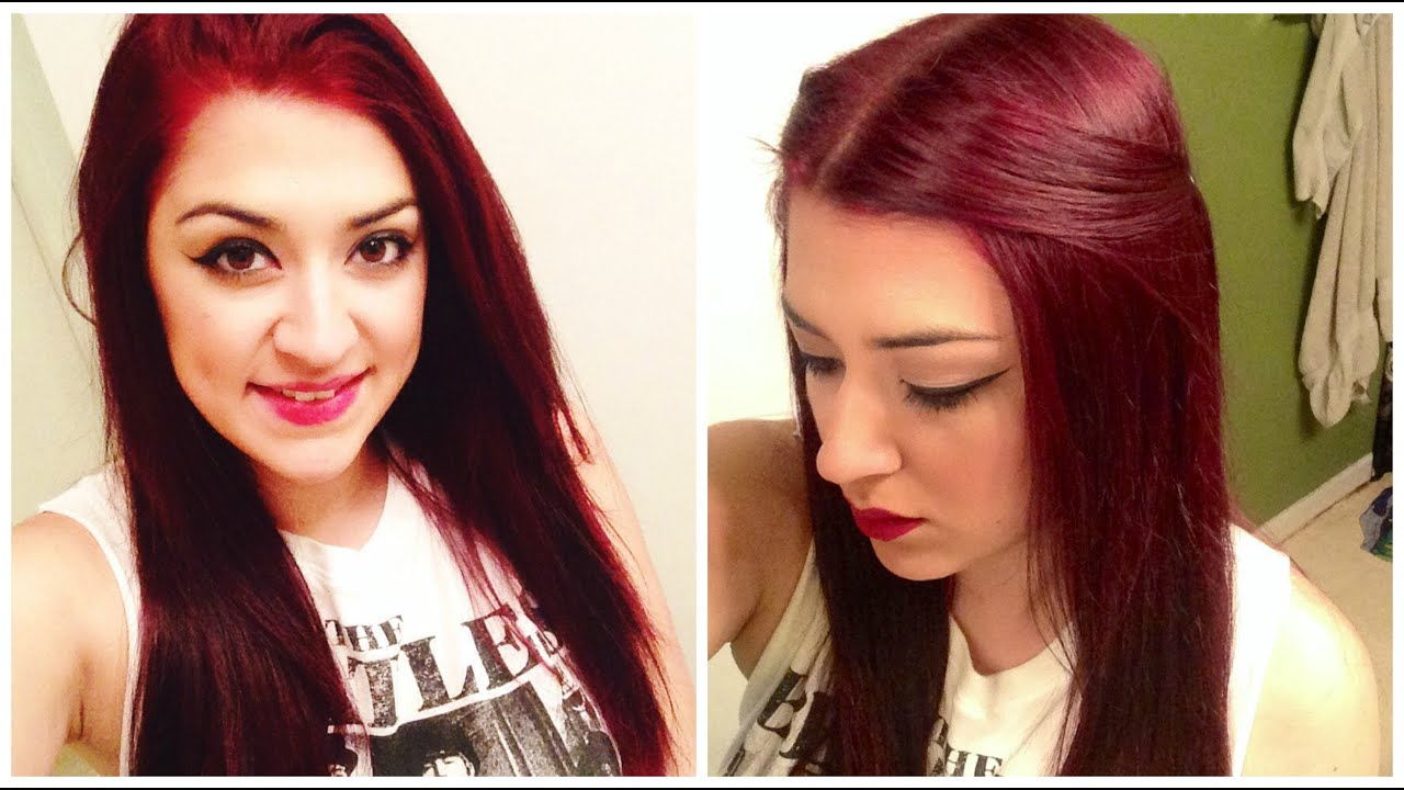 How To Dye Dark Hair RED Without BLEACH! - YouTube