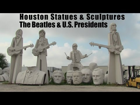 Houston Beatles Statues and Presidents Heads