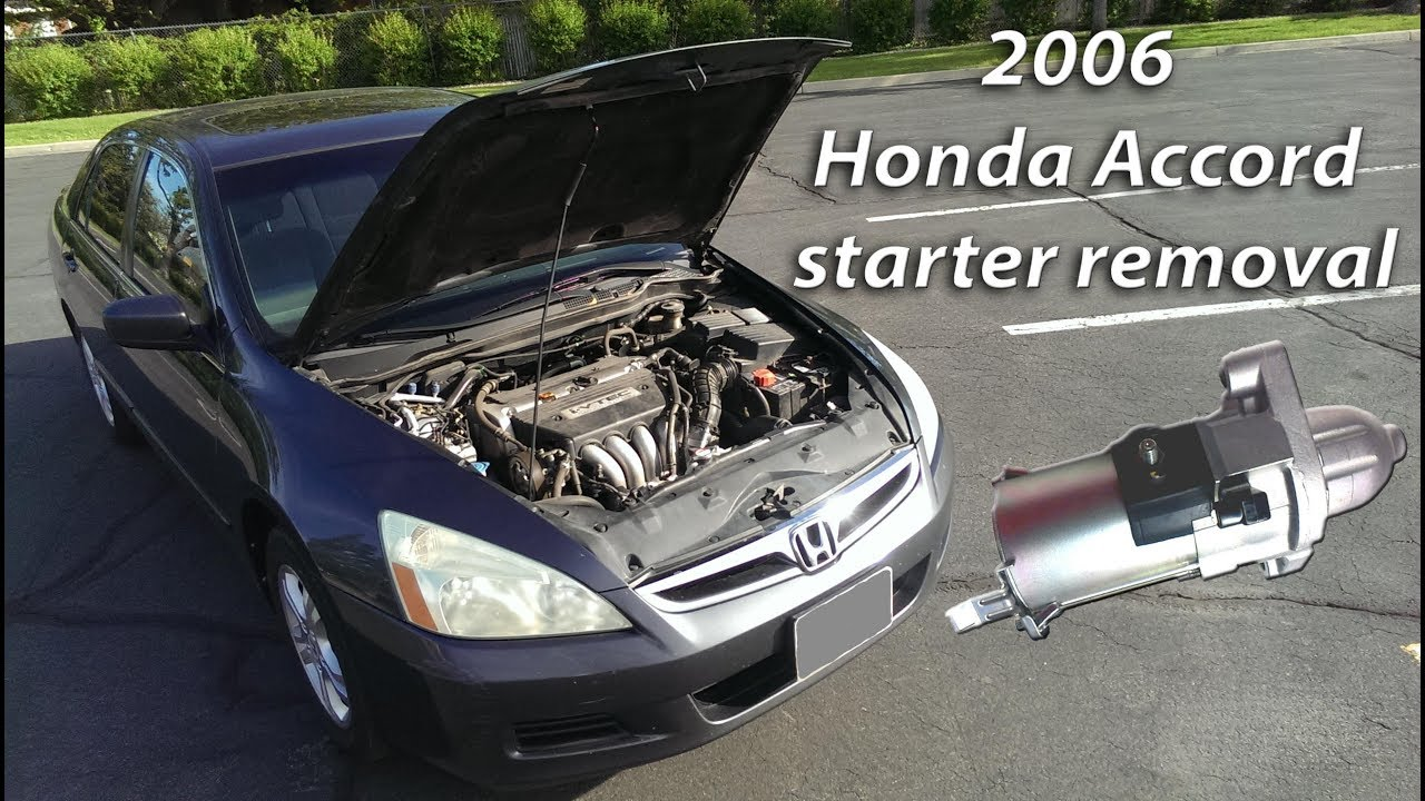 medium resolution of 2006 honda accord starter removal